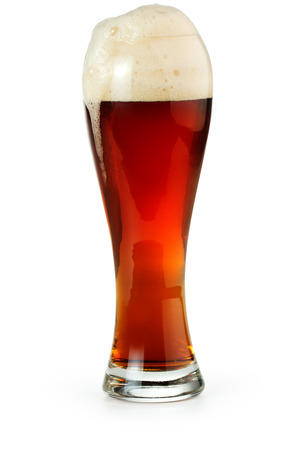 pint glass: pint of red beer isolated on white background