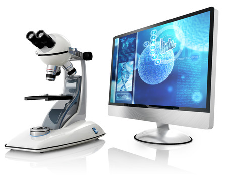 microscope and computer isolated on white background Stock Photo