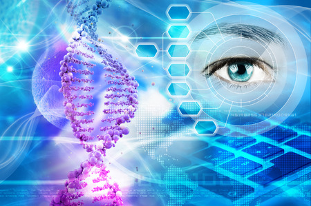 DNA helix and human eye in abstract blue background
