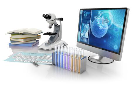 모니터, 책, 현미경, 피펫과 주기율표