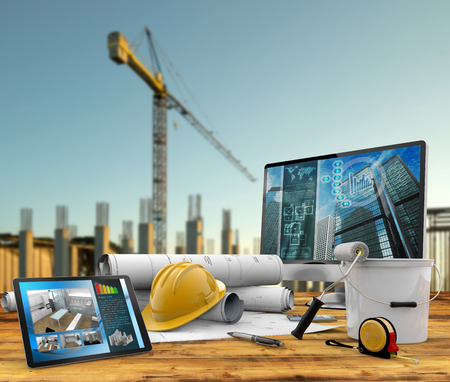 site manager: working tools of the builder in a construction site Stock Photo