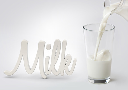 milk poured in a glass and word milk