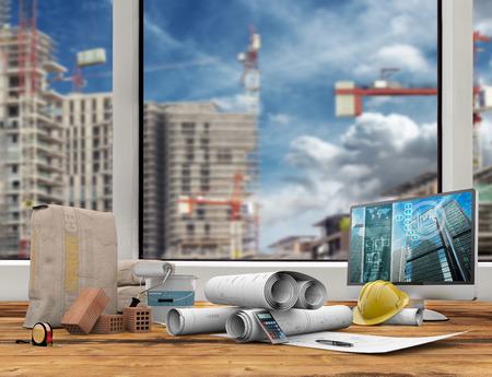 blauwdrukken, computer en bouwer werk hulpmiddel op houten tafel