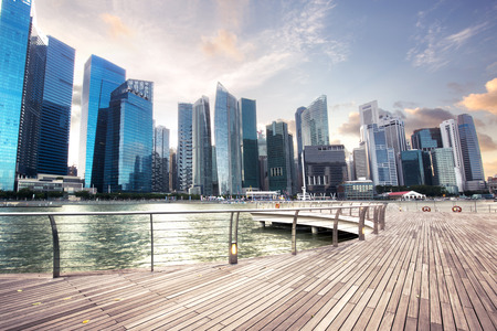 view of central business district in Singapore Stockfoto