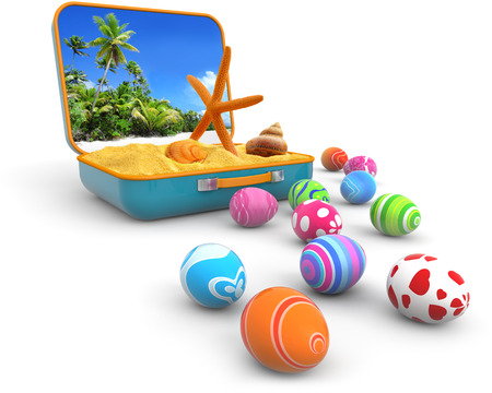 easter island: sand with seashells in a suitcase and easter eggs Stock Photo