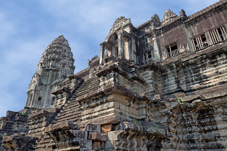 ancient civilization: ancient temple of Khmer civilization in a sunny day