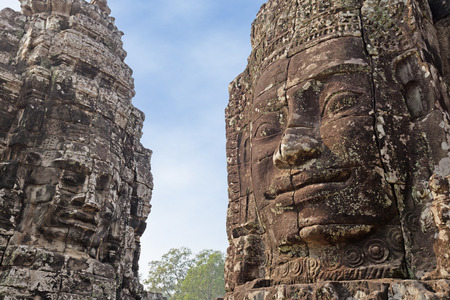khmer: two rock carvings of the Khmer civilization