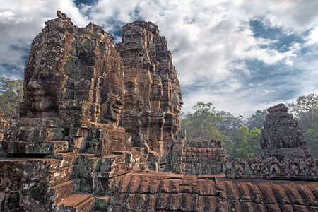 carved stone: carved stone towers in a khmer site Stock Photo
