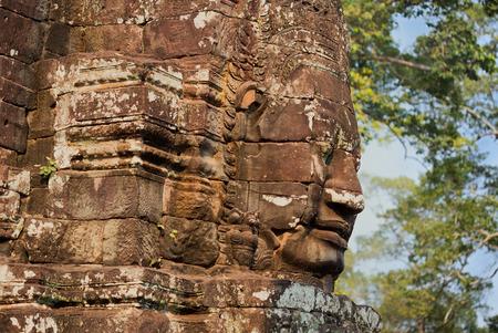 bayon: stone sculpture of buddha in bayon site