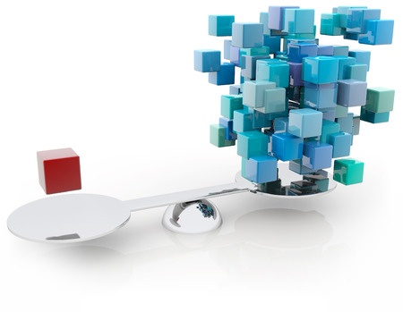 equipoise: red cube counterbalancing a group of blue blocks Stock Photo