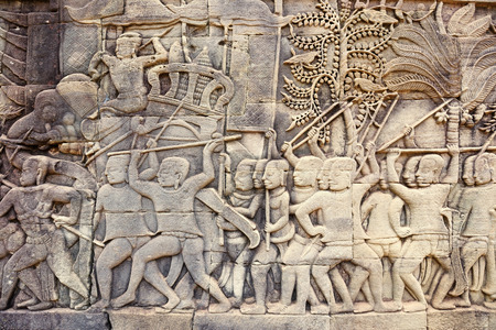bayon: detail of bas-relief in the Bayon temple