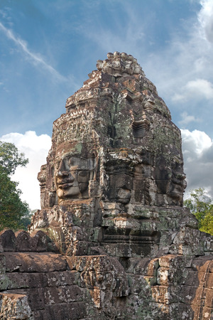 carved stone: carved stone tower in a khmer site