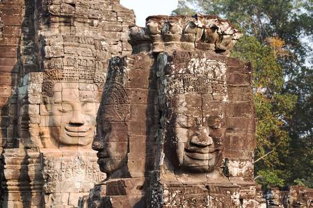 bayon: Buddha carved in stone tower at Bayon Stock Photo