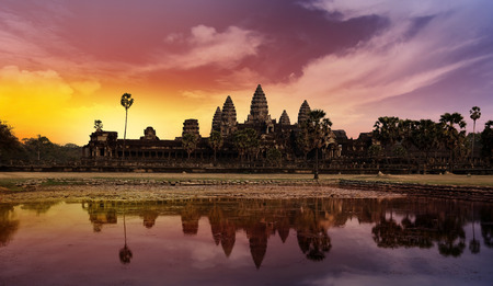 siem reap: temple of angkor in cambodia at sunset Stock Photo