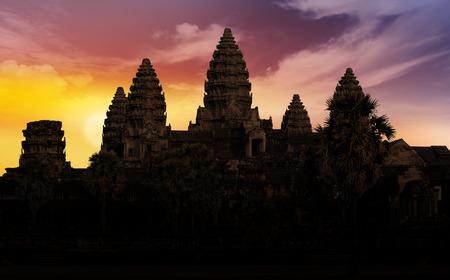siem reap: close up of Angkor backlit at sunset