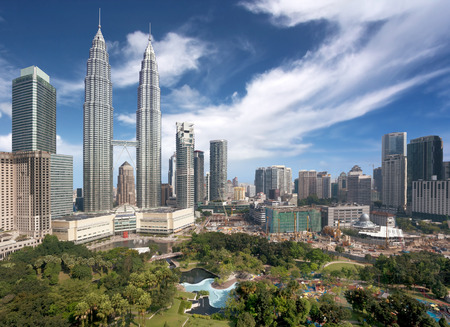 malaysia city: panoramic view of Kuala Lumpur downtown in daytime Editorial