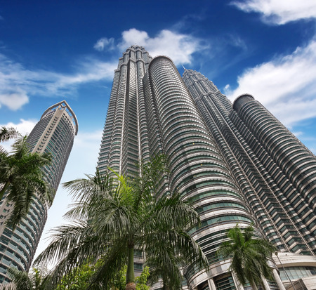 highrises: high-rises under a blue sky bottom view Editorial