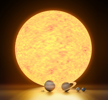 realistic model of our solar system scales Stockfoto