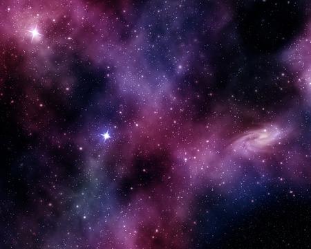 sterrenbeelden en spiraal nevel in een paars-blauwe achtergrond