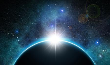 우주 공간에서 지구 일출 스톡 콘텐츠