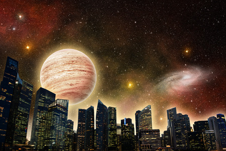 colony: skyline of a futuristic city in outer space