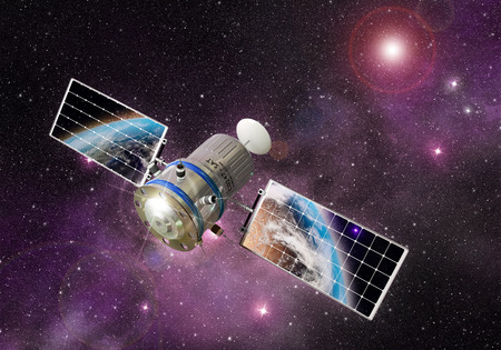 orbiting: satellite orbiting the earth in the outer space