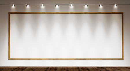 스포트 라이트 조명에 의해 흰색 벽에 골든 프레임