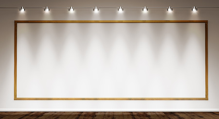 museums: golden frame on white wall illuminated by spotlights