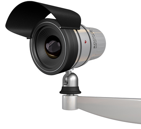 big brother spy: cctv security camera isolated on white background Stock Photo