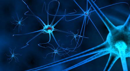 인간의 신경 시스템의 블루 신경 세포 스톡 콘텐츠