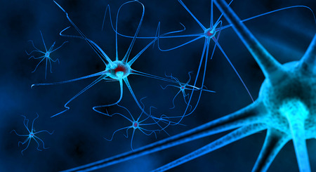 neural: blue nerve cell in human neural system