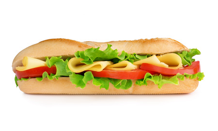 baguette filled with cheese, tomato and lettuce