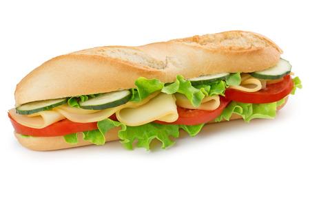 boterham met kaas, tomaat, komkommer en sla Stockfoto