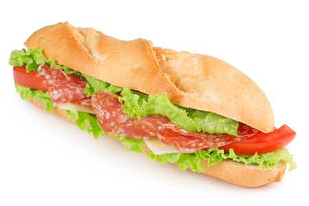 sandwich with salami, cheese, tomato and lettuce