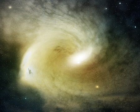 spiral nebula glowing in the outer space photo