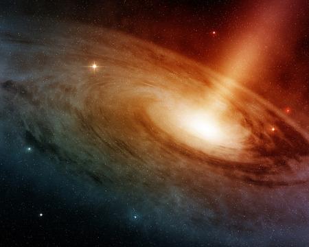 깊은 공간에 빛나는 나선형 은하 시스템 스톡 콘텐츠
