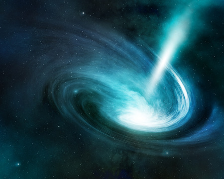 spiral nebula and light ray in deep space