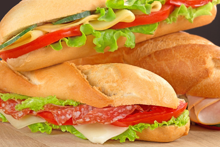 close up of sandwiches with savoury fillings