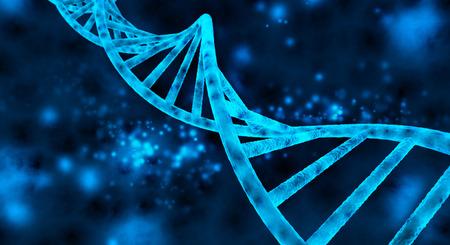 cromosoma: doble hélice del ADN en fondo azul Foto de archivo