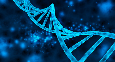 double helix of the DNA in blue background