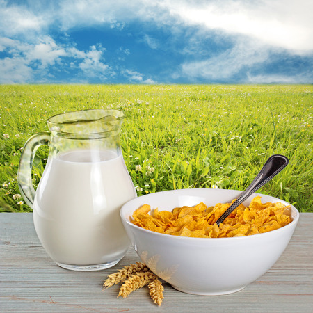 cornflakes: bowl of cornflakes and milk jug in a country background Stock Photo