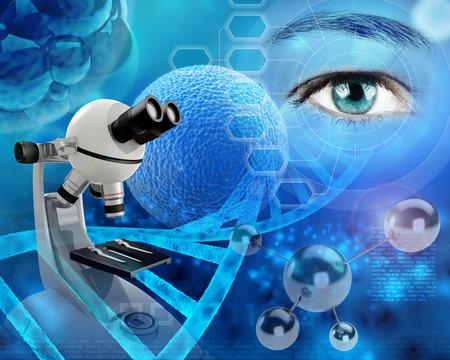 Microscoop en menselijk oog in een wetenschappelijke achtergrond Stockfoto