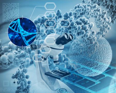stem: microscope, double hélice d'ADN et de cellules humaines