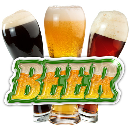 menu icon: pints of beer and sticker isolated on white background