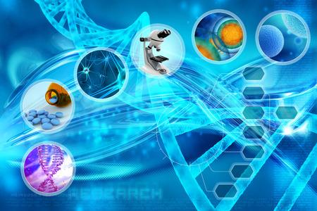 genetica: la medicina e le cellule in uno sfondo astratto scientifico Archivio Fotografico