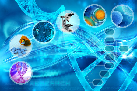 medical technology: medicine and cells in an abstract scientific background