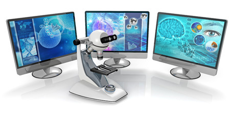 microscope and pc monitors isolated on white background 写真素材