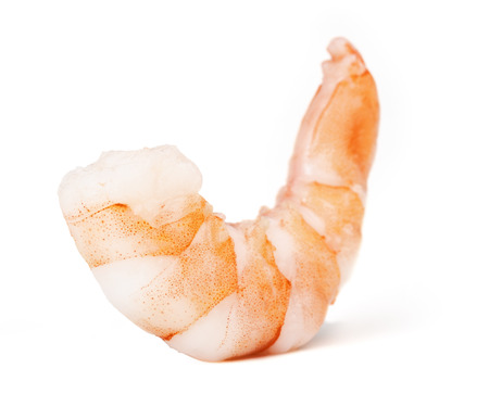single peeled shrimp isolated on white background