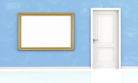 closed white door and blank frame on blue wall Stock Photo