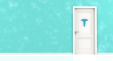 designates: caduceus symbol hanging on closed door in a blue wall